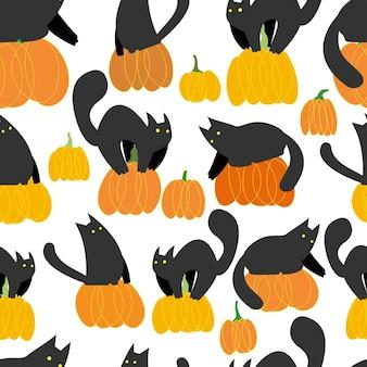 Nahtloses muster mit katzen und kürbissen halloween auf weißem hintergrund halloween-muster für kinder