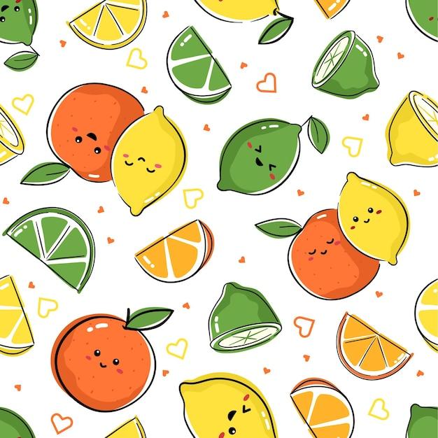 Nahtloses muster mit kawaii zitronen-, orangen- und limettenzeichen