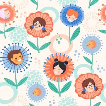 Nahtloses muster mit kindern in den blumen. glücklicher muttertag und kinderschutztag