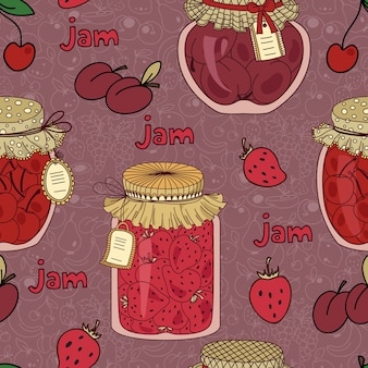 Nahtloses muster mit kirsch-, pflaumen- und erdbeermarmelade