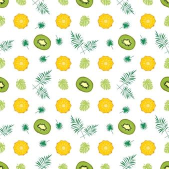 Nahtloses muster mit kiwi-ananas
