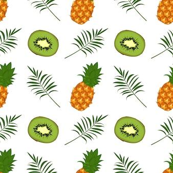 Nahtloses muster mit kiwiananas und palmzweig palm