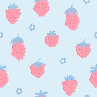 Nahtloses muster mit kleinen bunten erdbeeren und süßen blumen. blauer hintergrund mit rosa sommerbeeren. illustration im flachen stil für kinder von kleidung, textilien, tapeten. vektor