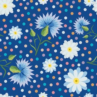 Nahtloses muster mit kleinen und großen weißen gänseblümchen, kornblumen, bunten punkten