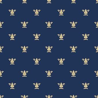 Nahtloses muster mit königlicher lilienstruktur. hintergrund blau, verzierte wiederholung, modevektorillustration