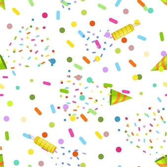 Nahtloses muster mit konfetti-crackern vektor-cartoon-illustration