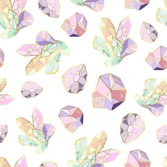 Nahtloses muster mit kristallen und edelsteinen, schmucksteine