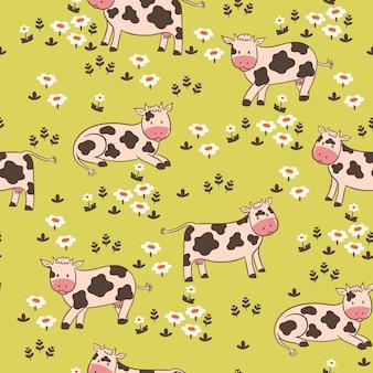 Nahtloses muster mit kühen auf der wiese.