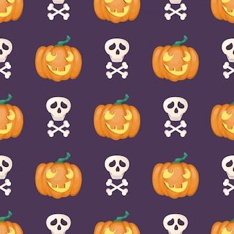 Nahtloses muster mit kürbis glückliches halloween.