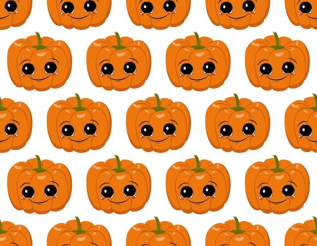 Nahtloses muster mit kürbissen, gesicht und lächeln. halloween-partydekoration. gemüsedruck mit einem schmunzeln. festlicher hintergrund für papier, textil, urlaub und design