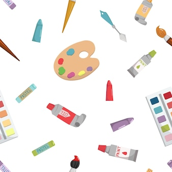 Nahtloses muster mit kunst- und schulbedarf kryons malt palettenpinsel