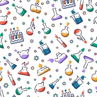 Nahtloses muster mit laborflaschen, messbecher und reagenzgläsern