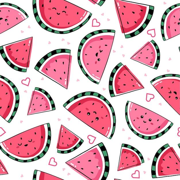 Nahtloses muster mit lächelnden kawaii wassermelonenzeichen
