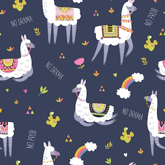 Nahtloses muster mit lama, kaktus, regenbogen und handgezeichneten elementen.
