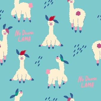 Nahtloses muster mit lamas. kindergarten kreative kinder textur. cartoon-lama-alpaka. kein drama-lama. ideal für stoff, textil. vektor-illustration