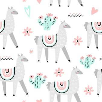 Nahtloses Muster mit Lamas
