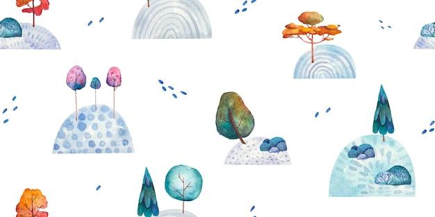Nahtloses muster mit landschaftsnaturhügeln und -bäumenkinderillustration