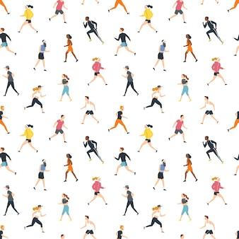 Nahtloses muster mit laufenden personen oder athleten auf weiß