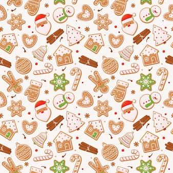 Nahtloses muster mit lebkuchen und zimtstangen, weihnachten.