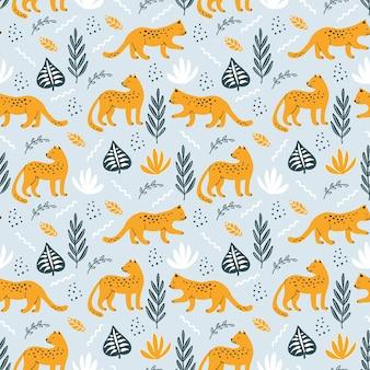 Nahtloses muster mit leoparden und handgezeichneten elementen