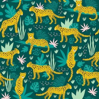 Nahtloses muster mit leoparden und tropischen blättern.