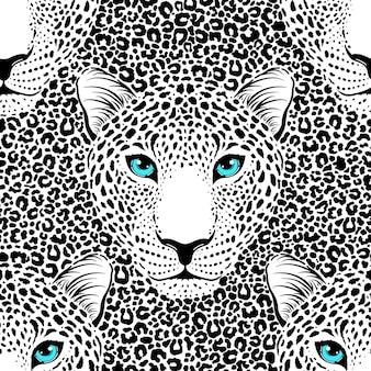 Nahtloses muster mit leopardenmaulkorb und leopardenfell.