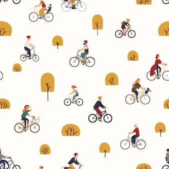 Nahtloses muster mit leuten, die fahrräder im herbstpark mit bäumen reiten.