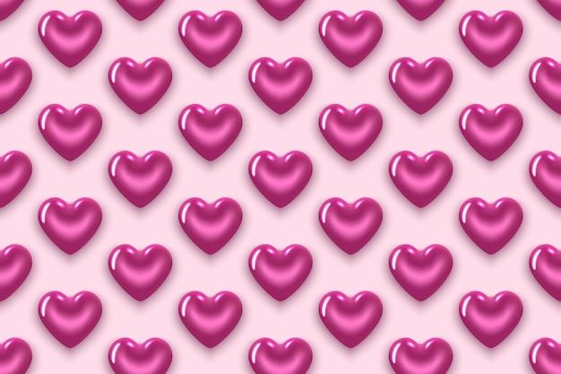 Nahtloses muster mit lila herzen. zum valentinstag