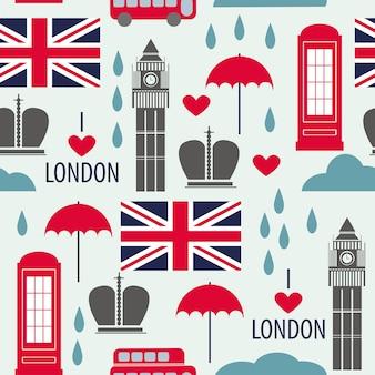 Nahtloses muster mit londoner symbolen - vektorillustration