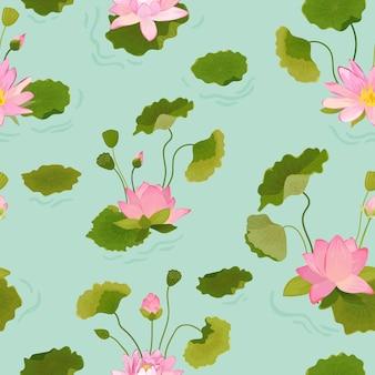 Nahtloses muster mit lotusblumen und blättern, retro-tropischer blumenhintergrund für modedruck, geburtstags-dekoration-tapete. vektorillustration