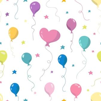 Nahtloses muster mit luftballons und sternen. handgezeichnete vektor-illustration. nahtloses muster für tapeten, kindertextilien, karten, schreibwaren, verpackung.