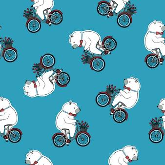Nahtloses muster mit lustigem cartoon-zirkusbären, der fliege trägt und fahrrad mit vorderem korb reitet