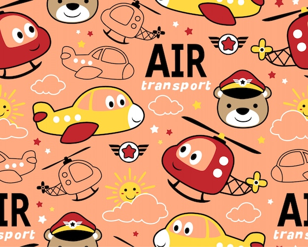 Nahtloses muster mit lustigem lufttransport