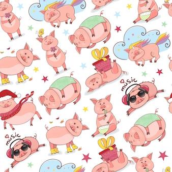 Nahtloses muster mit lustigem piggy