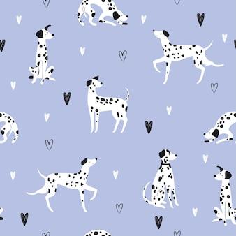 Nahtloses muster mit lustigen cartoon-dalmatinerhunden