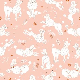 Nahtloses muster mit lustigen cartoon-pudelhunden