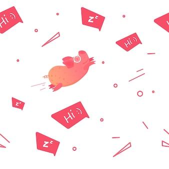 Nahtloses muster mit lustigen gezeichneten charakteren des schweins hand
