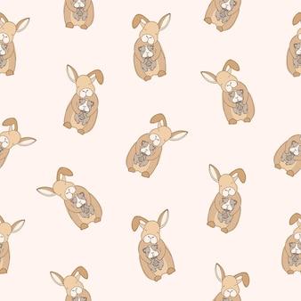Nahtloses muster mit lustigen kaninchen mit geschlossenen augen, die meerschweinchen auf hellem hintergrund halten. kulisse mit niedlichen umarmten cartoon-haustieren oder haustieren. bunte vektorillustration für stoffdruck