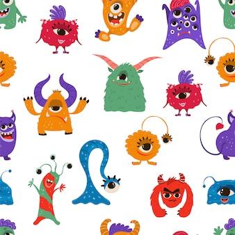Nahtloses muster mit lustigen monstern im cartoonstil.