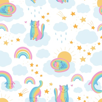 Nahtloses muster mit lustigen regenbogenkatzen.