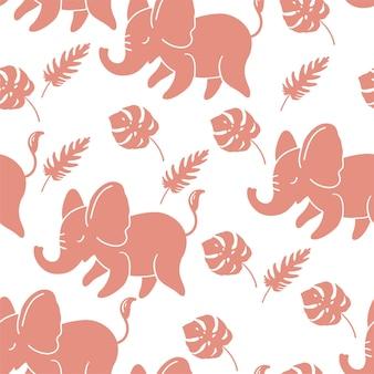 Nahtloses muster mit lustigen rosa elefanten und tropischen blättern vektormuster für stoffkleidung