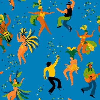 Nahtloses muster mit lustigen tanzenmännern und -frauen in den hellen kostümen.