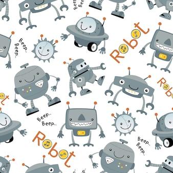 Nahtloses muster mit lustiger roboterkarikatur