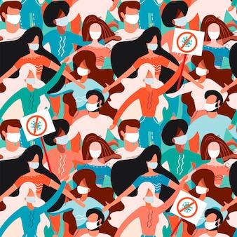 Nahtloses muster mit männern und frauen in medizinischen gesichtsmasken mit protestzeichen. neuartiges coronavirus 2019-ncov-konzept von covid-19
