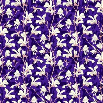 Nahtloses muster mit magnolienbaumblüte. gelbes blumenmuster mit niederlassung und weißer magnolienblume