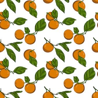 Nahtloses muster mit mandarinen auf zweigen mit blättern