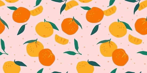 Nahtloses muster mit mandarinen. trendige handgezeichnete texturen.