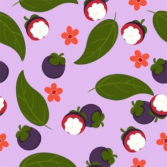 Nahtloses muster mit mangostan auf einem lila hintergrund.