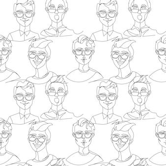 Nahtloses muster mit mann im brillenporträt one line art