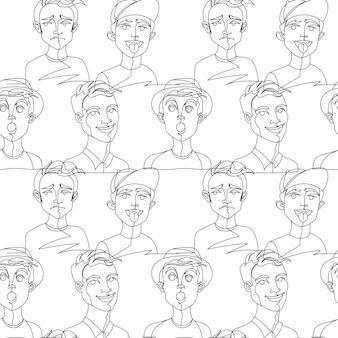 Nahtloses muster mit mannporträt einzeilige kunst